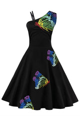 Rainbow Embroidered Butterfly Swing Dress