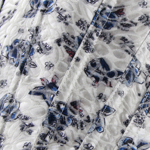 Atomic Blue and White Floral Overbust Corset