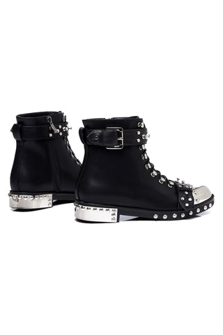 Black Studded Genuine Leather Ankle Boots