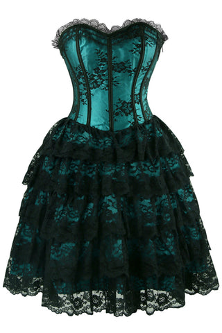 Dark Blue Floral Victorian Lace Corset Dress