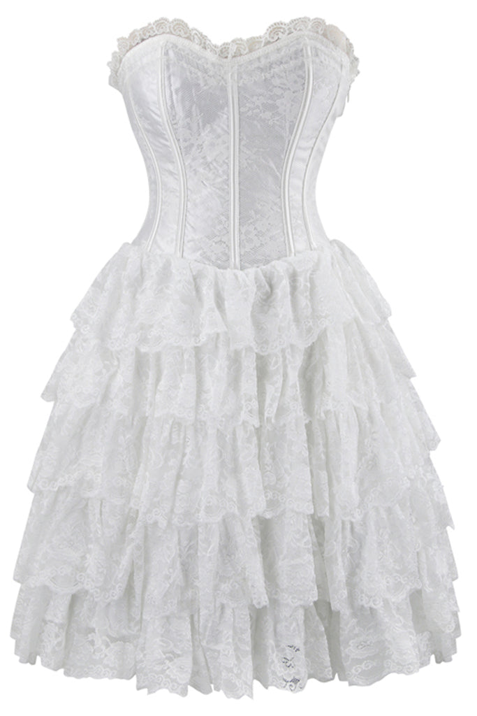 White Floral Victorian Lace Corset Dress Best Of Steampunk
