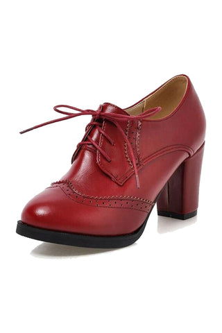 Vintage Oxford Block Heeled Shoes