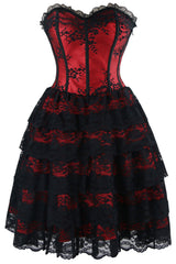 Red Floral Victorian Lace Corset Dress