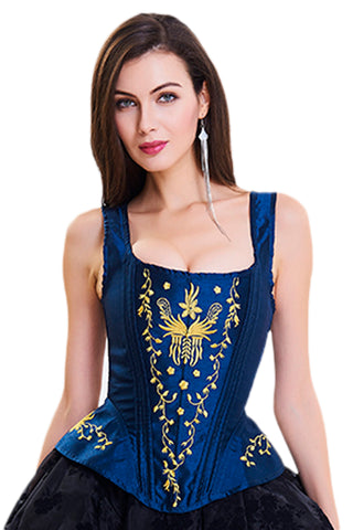 Blue Embroidery Overbust Corset