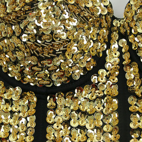Gold Sequin Studded Sweetheart Top
