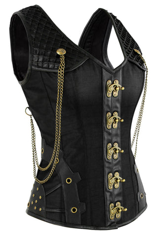Black Steel Boned Steam Overbust Vest Corset
