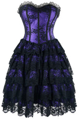 Purple Floral Victorian Lace Corset Dress