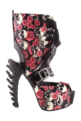 Rosy Skull Printed Boned High Heels