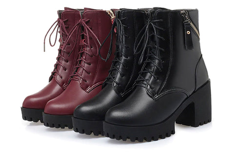 Atomic Lace-Up Leather Boots