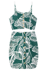 Green Tropical Tank Top and Skirt Set