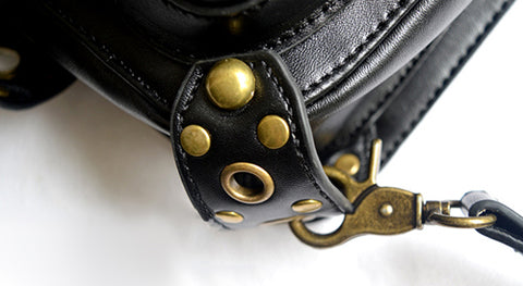 Atomic Rings and Rivets Leather Bag