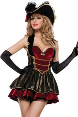 Atomic Red and Black Fancy Pirate Costume
