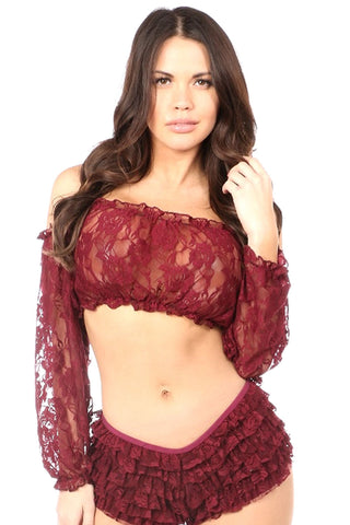 Wine Red Sheer Long Sleeved Lace Peasant Top