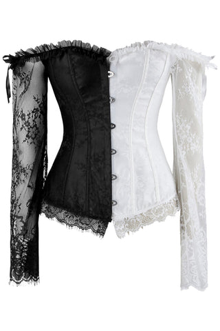 Black and White Sleeved Corset and High-Low Skirt