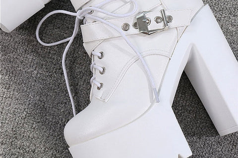 Double Buckled High Heeled Boots