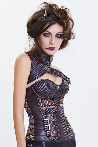 Brown Tribe One Shoulder Overbust Corset
