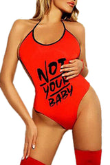 "Red ""Not Your Baby"" Teddy Lingerie"