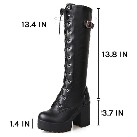Atomic Laced and Buckled Knee High Boots