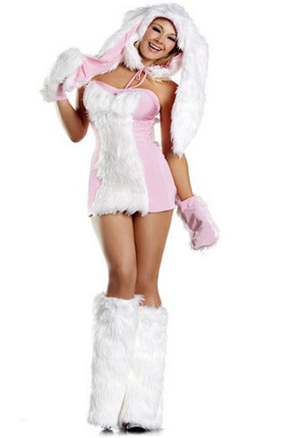 Pink and White Blushing Bunny Costume