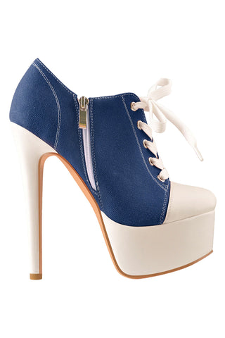 Lace Up Canvas High Heels