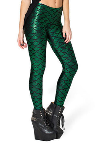 Atomic Dark Green Fish Scale Low Waist Leggings