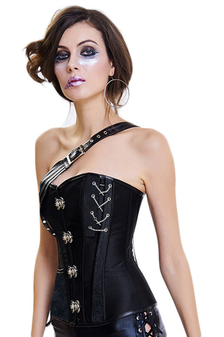 Black One Shoulder Crisscross Corset