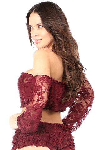 Wine Red Lined Lace Long Sleeve Peasant Top
