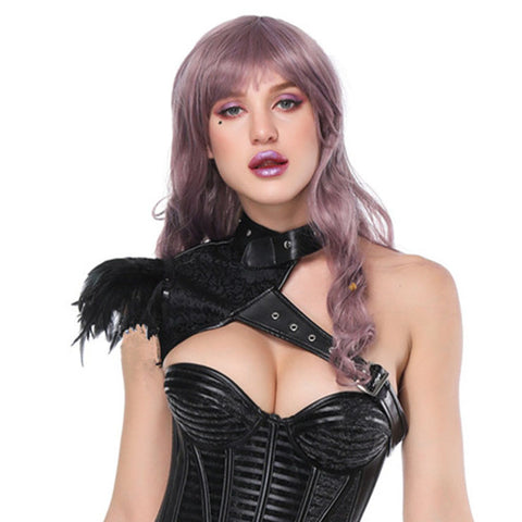 One Shoulder Feathered Corset Shrug
