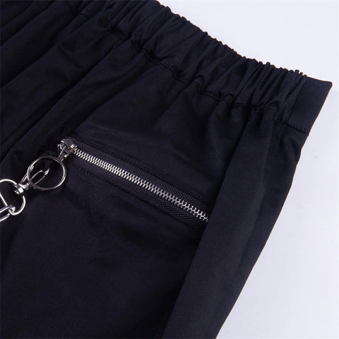 Atomic Zipped Up Gothic Pants with Chains