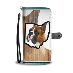 Boxer Dog Print Mobile Phone and Wallet Case Cover OH State