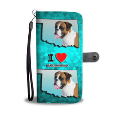 Boxer Dog Print Mobile Phone and Wallet Case Cover OK State