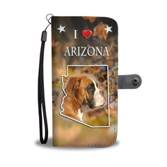 Boxer Dog Print Mobile Phone and Wallet Case Cover AZ State
