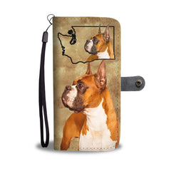 Boxer Dog Print Mobile Phone and Wallet Case Cover WA State
