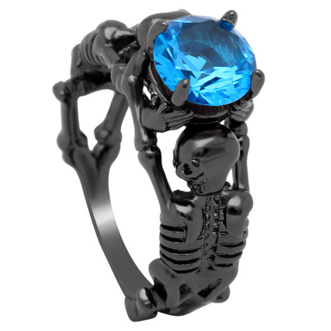 Black Twin Skeleton Ring
