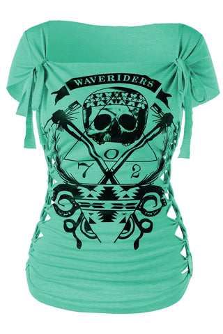Braided Wave Riders Skull T-shirt