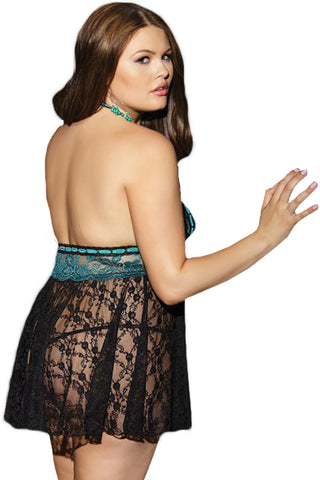 Black and Teal Floral Plus Size Babydoll