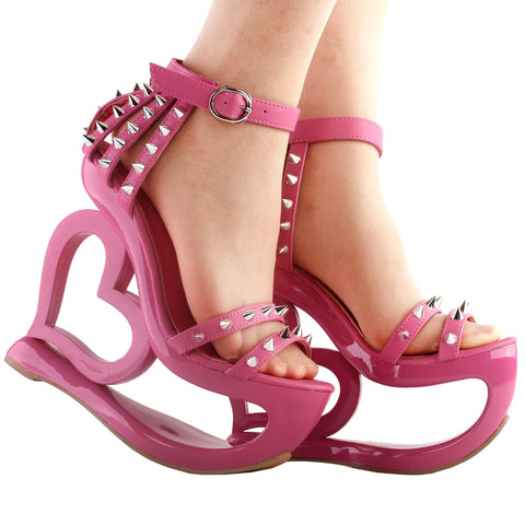 Spiked Heart Wedge Sandals
