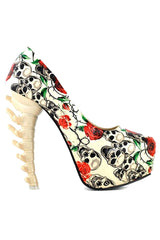 Graphic Printed Bone High Heels
