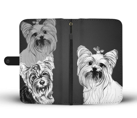 Yorkie Sketch Mobile Phone and Wallet Case Cover