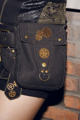 Black Ammo and Gears Belt Bag