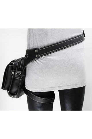 Solid Black Leather Bag