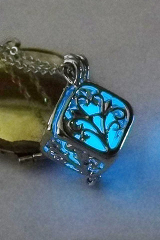 Blue Glow In The Dark Boxed Tree Necklace