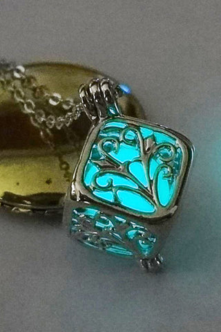 Blue Green Glow In The Dark Boxed Tree Necklace