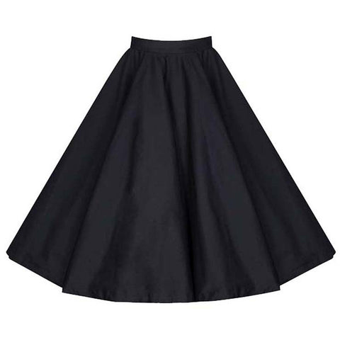 Black Flared Swing Skirt