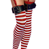 Candy Cane Thigh High Stockings with Belt Buckle