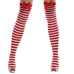 Candy Cane Thigh High Stockings with Red Bow