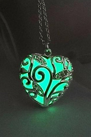Green Glow In The Dark Heart Necklace