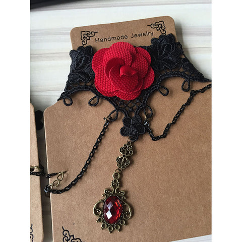Red Rose And Pendant Choker Necklace