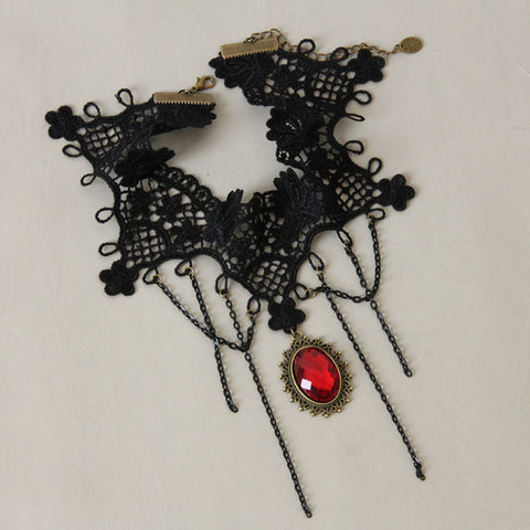Black Lace And Red Pendant Choker Necklace