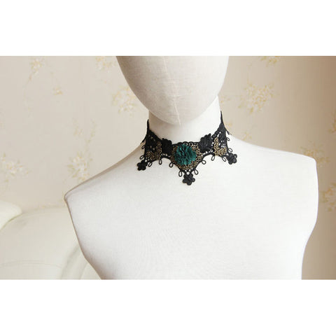 Black Lace And Green Flower Choker Necklace